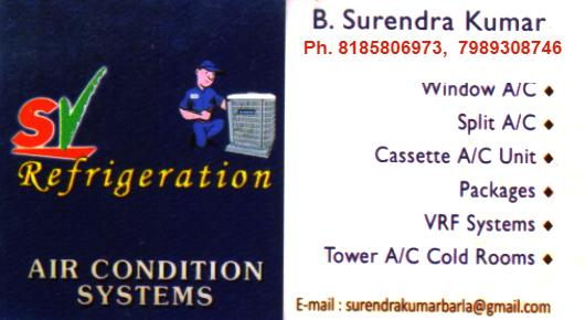 SV Refrigeration and Air Condition Systems in Visakhapatnam Vizag,Seethammapeta In Visakhapatnam, Vizag